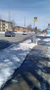 Another shot of the Route 5 stop at Culpepper Avenue along Erb Street. It's a snowy mess that is indistinguishable from other regular curbs.